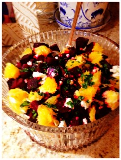 Fresh roasted beets tossed with cilantro, goat cheese and oranges drizzled with a bit of EVOO and ground sea salt