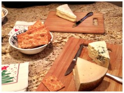 Our favorite cheeses, from bottom to top: 9-month aged Manchego, Saga Blue and Affinois