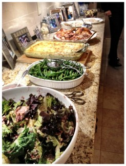 Salad, String Beans, Scalloped Sweet Potatoes & Yukon Golds, Turkey, Salmon and Beet Salad